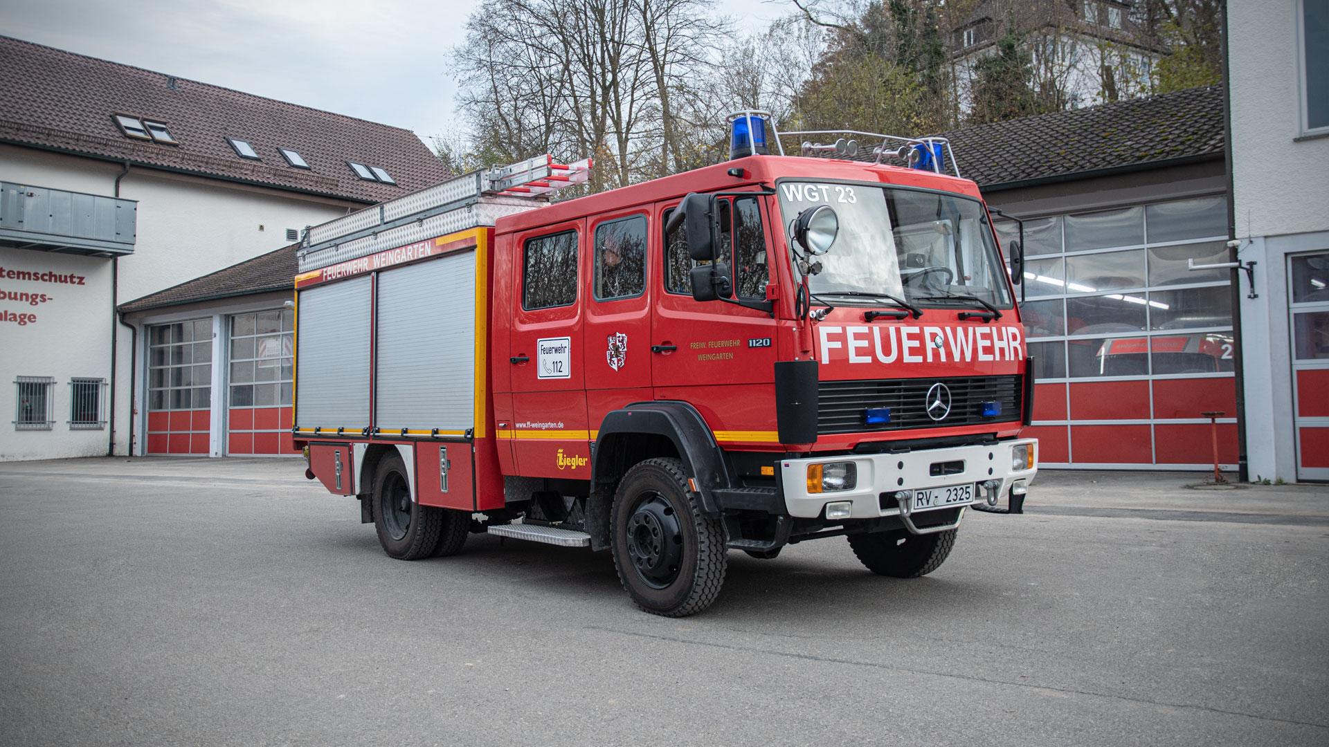 Tanklöschfahrzeug der Feuerwehr Weingarten.