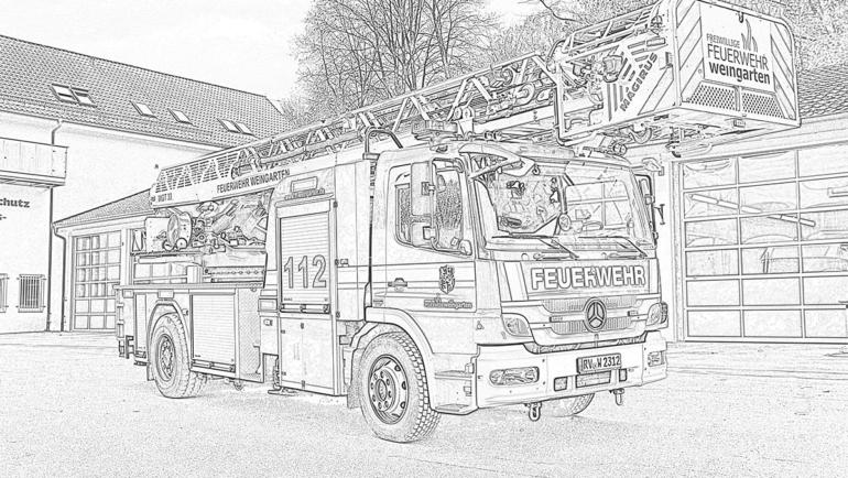 Feuerwehr-Ausmal-Challenge für Kinder