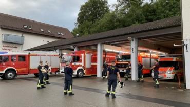 Feuerwehrübung unter strengen Hygieneregeln